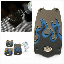 3 PIECE CAR NONSLIP FOOT COVERS BLUE 3D FLAME SPORTS PEDALS PLATES UNIVERSAL FIT