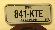 "MAINE miniature bike license-plate ""841-KTE"" cereal giveaway 1981 metal mini toy"