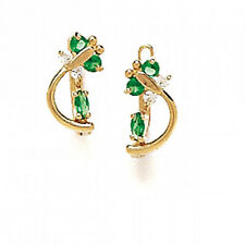 14K Solid Yellow Gold Emerald May Birthstone Butterfly Leverback Earrings #L5-5