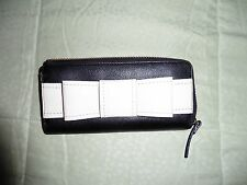 NWT $228 Kate Spade New York Alice Court Nisha Bow Zip Around Wallet Black/ Bone