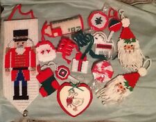 Lot Christmas Holiday Completed Cross Stitch On Plastic Canvas Ornaments