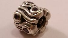 Discontinued PANDORA Sterling Silver Ocean Wave Purple Stone Charm FREE SHIPPING