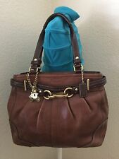 COACH Hampton Pleated Pebbled Brown Leather Satchel Tote Shoulder Handbag 12476
