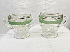 Vintage Depression Glass Clear w/Green & Gold Stripes Cream & Sugar Set