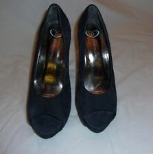BLUE SUEDE PROMISCUS PEEP TOE HIGH HEEL 5 INCH PUMPS SIZE 6 (M,B)
