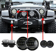 "7'' LED Headlight Amber Signal Turn Light 4"" Fog Lamp Kit for Jeep Wrangler JK"