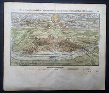 1628 Munster Antique Map - View of the city Trier Rhineland-Palatinate, Germany
