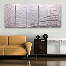 Contemporary Silver/White Hand Painted Metal Wall Art - Arctic Wave by Jon Allen