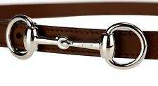 NEW GUCCI LADIES CURRENT BROWN LEATHER HORSEBIT BUCKLE SKINNY BELT 95/38