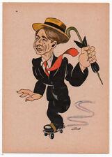 Cartolina originale tedesca di PAUL KEMP caricaturale anni '40