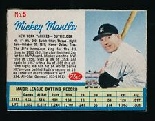 1962 Post Cereal Baseball #5 MICKEY MANTLE (New York Yankees) Not Life Mag *HOF*