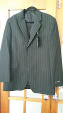 M&S Autograph black with fine stripe jacket 42 long NEW Polyester Viscose