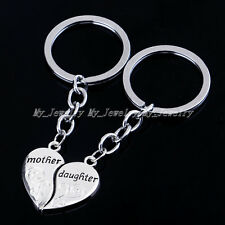 2PC Heart Mother Daughter Keychains Keyrings Women Girls Key Chains Family Gifts