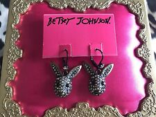 Betsey Johnson Vintage Dark Forest Crystal AB Paved Rabbit Head Bunny Earrings
