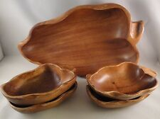 MONKEY POD Wood Bowls Salad 5/Set Serving Grape Chili Pepper Shaped Wooden Serve