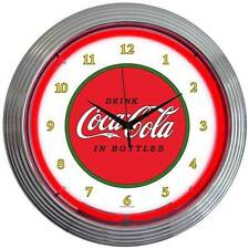 New old style Drink Coca Cola In Bottles neon clock  Old style Coke coolers also