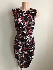 Black Red White Floral Ruch Front Wiggle Pencil Smart Casual Dress Size 10