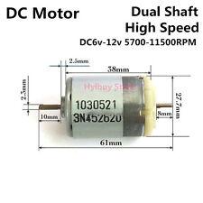 DC 6V-12V 9V DC Motor High speed 11500rpm Dual shaft Johnson Motor 385 Motor