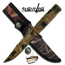 Camo Survival Survior Hunting Knife Knives W/ Survival Kit #HK-690CA