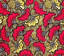 African Fabric 1/2 Yard Cotton Wax Print PINK BEIGE Abstract Floral