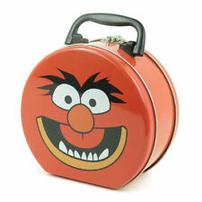 RED ANIMAL ROUND TIN TOTE LUNCH BOX RETRO VINTAGE MUPPETS METAL STORAGE KERMIT