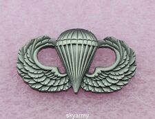 US ARMY AIRBORNE PARATROOPER PARACHUTIST JUMP WINGS BADGE PIN-- Ancient silver