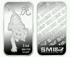1 oz Sunshine Mint .999 Fine SILVER Year of the TIGER Lunar Bar USA Rare Limited