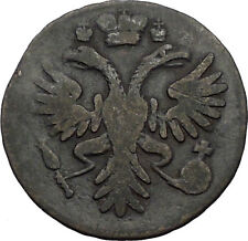 1731 ANNA IVANOVNA Russian Empress Antique Denga 1/2 Kopek Coin Eagle i56446
