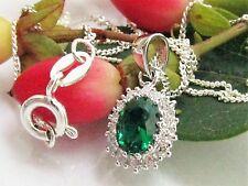 Collier 925 Silber Anhänger Smaragd Zirkonia grün mit Kette Halskette 45 cm