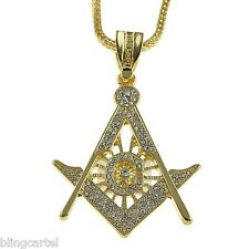 "Big Masonic Iced-Out Pendant Mason Gold Finish Hip Hop 36"" Franco Chain Necklace"