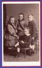 bw ★ CDV Foto um 1880 - vier hübsche Kinder, Kinder-Thonet Stuhl - Zwittau