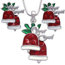 Christmas Gift Jingle Bell Pendant Necklace Stud Post Earrings Jewelry Set s44