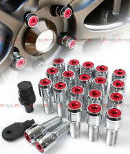 20 Pcs M14 X 1.5 Red Wheel Lug Nut Bolts With Security Caps +Key+Socket For BMW