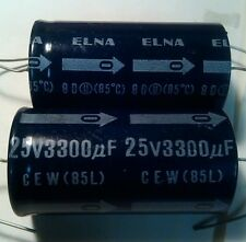 2 NOS Elna 3300uf 25v radial large can capacitor min 85c audio quality Japan