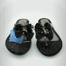 SIMPLY VERA WANG New w/Defect SMALL 5-6 BLACK Silver FLIP FLOP SANDALS Gems BOWS