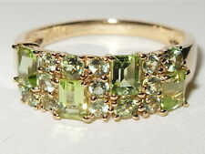 BEAUTIFUL QVC 9CT YELLOW GOLD FANCY PERIDOT GEM CLUSTER RING.