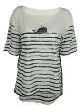 Whale Dolphin nautical print top shirt womens ladies oversized tshirt sea surf