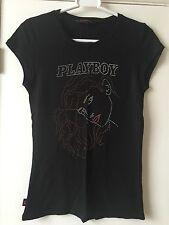 Playboy Negro Top T-Shirt Tamaño 10