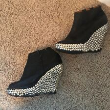 Jeffrey Campbell Black Leather Silver Studded Boots Booties Platforms Sandals 9