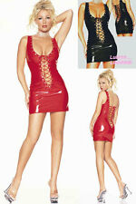 Ladies Sexy Lingerie Red PVC FAUX LEATHER Basque Corset Club Fancy Dress 807