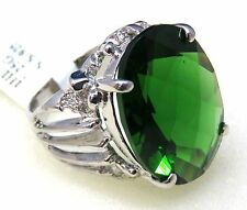 #1916 16.0ct Forest Green Helenite Large Oval Checkerboard Sterling Silver Ring