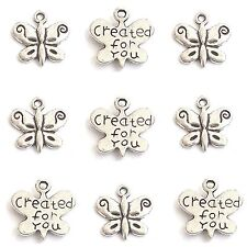 "10 Tibetan Silver ""Created For You"" Butterfly Pendant Charms"