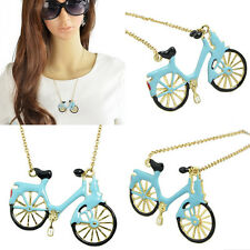 Lady Girls Enamel Bicycle Pendant Long Necklace Sweater Chain Women Jewelry Gift