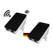 2 Mal 300 Mbit Highspeed WLAN Repeater Wifi Verstärker + Router Funktion WPS LAN