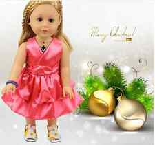 Handmade new Pink clothes dress for 18 inch American girl doll party AAA-04#