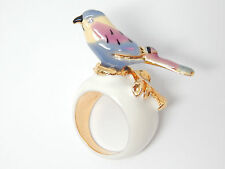 Kenneth Jay Lane Cloister Rhinestone Bird on Twig White Inlay Gold-P Ring Size 9