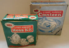 Vintage 1970 Era WFS Used Aluminum Mess Kit & 2 Quart Canteen Camp Kit In Boxes
