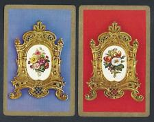 #930.860 vintage swap card -EXC pair- Flowers in gilt picture frames