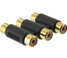 Triple 3 X Rca Phono acoplador Mujer A Mujer Audio Video Conector Adaptador De Oro
