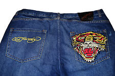 Ed Hardy Christian Audiger Embroidered Tiger Mens Straight Leg Blue Jeans 40x33